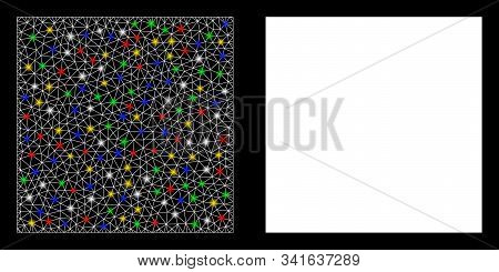 Glossy Mesh Filled Square Icon With Glitter Effect. Abstract Illuminated Model Of Filled Square. Shi