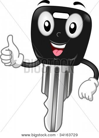 Mascot Illustration Featuring a Car Key