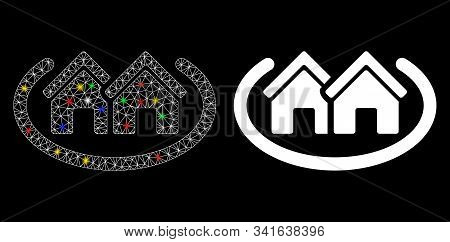 Glossy Mesh Houses Area Icon With Glow Effect. Abstract Illuminated Model Of Houses Area. Shiny Wire