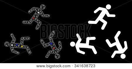 Glossy Mesh Running Men Circulation Icon With Glare Effect. Abstract Illuminated Model Of Running Me
