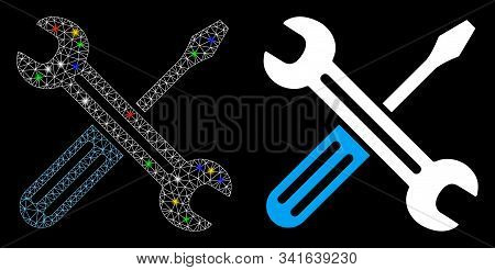Glossy Mesh Spanner And Screwdriver Icon With Glow Effect. Abstract Illuminated Model Of Spanner And