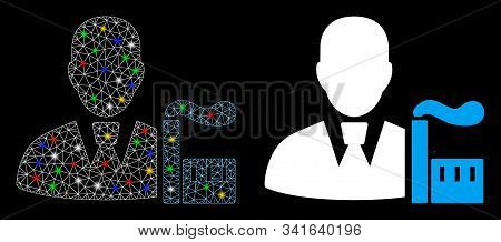 Glossy Mesh Industry Capitalist Icon With Glow Effect. Abstract Illuminated Model Of Industry Capita