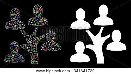 Glowing Mesh Genealogy Tree Icon With Glare Effect. Abstract Illuminated Model Of Genealogy Tree. Sh