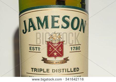 Pruszcz Gdanski, Poland - December 3, 2019: Close-up For Label Of Irish Whiskey Jameson. Jameson Is