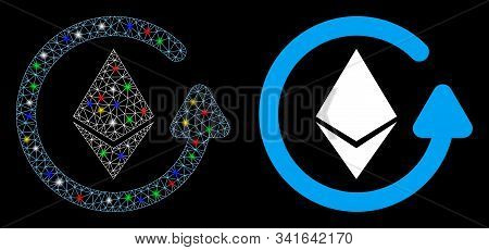 Glowing Mesh Ethereum Refund Icon With Glare Effect. Abstract Illuminated Model Of Ethereum Refund.