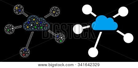 Bright Mesh Cloud Connections Icon With Glare Effect. Abstract Illuminated Model Of Cloud Connection