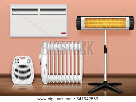Heaters Interior Realistic Composition With Set Of Different Heaters In Domestic Environment With Fl