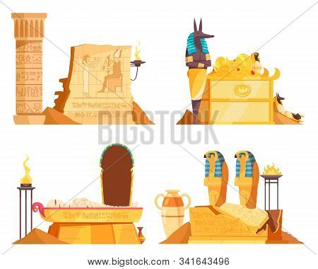 Egyptian Burial Chambers Goods Coffin Tomb Afterlife God Offerings Wall Etching Ritual Fire 4 Compos