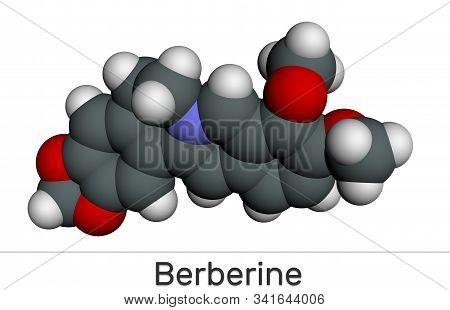 Berberine C20h18no4, Herbal Alkaloid Molecule. Molecular Model. 3d Rendering