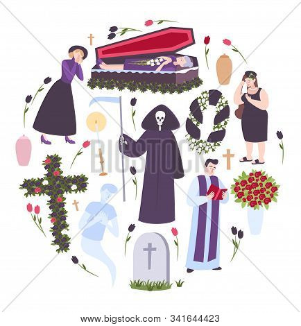 Funeral Round Composition With Sad People Headstone Priest Coffin With Deceased Isolated Icons Vecto