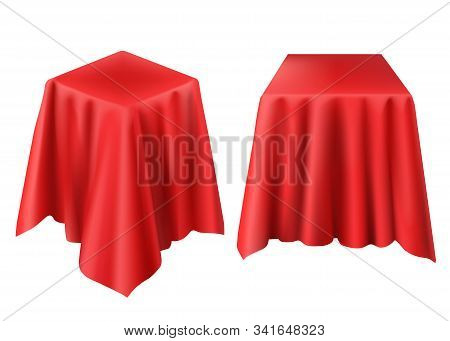Box Covered With Red Cloth. Vector Realistic Template Of Cube Hidden Under Silk Veil Or Curtain For
