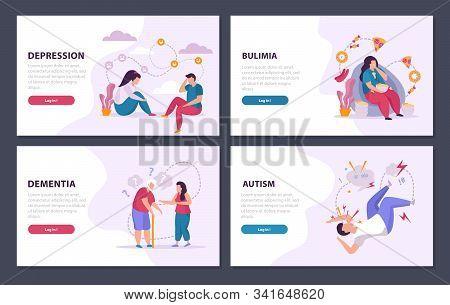 Mental Disorders 2x2 Design Concept Set Of Depression Dementia Autism Bulimia Flat Compositions Vect
