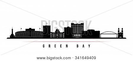 Green Bay Skyline Horizontal Banner. Black And White Silhouette Of Green Bay, Wisconsin. Vector Temp