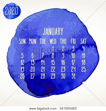 January Year 2020 Vector Monthly Artsy Calendar. Hand Drawn Blue Watercolor Paint Circles Design Ove