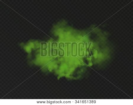 Green Bad Smell. Stink Cloud Of Stench Gases, Smoke Or Farting. Vector Realistic Chemical Toxic Vapo