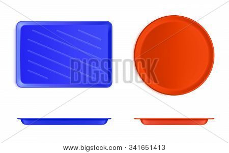 Empty Plastic Food Tray Front And Top View. Vector Realistic Mockup Of Blue Rectangle And Red Round