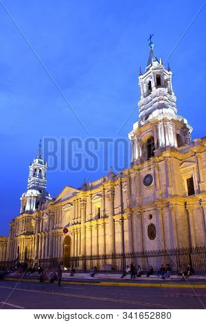 Arequipa, Peru - January 5, 2010: View Of The Cathedral At Main Square, Plaza De Armas