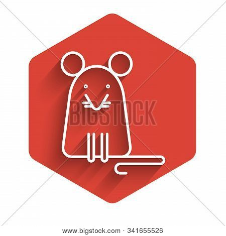 White Line Rat Icon Isolated With Long Shadow. Mouse Sign. Red Hexagon Button. Vector Illustration