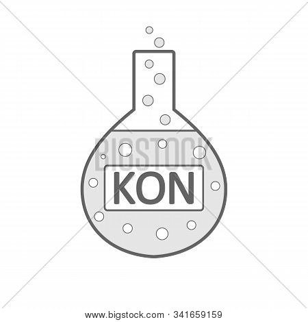 Laboratory Glass With Potassium Hydroxide On White Background. Vector Illustration.