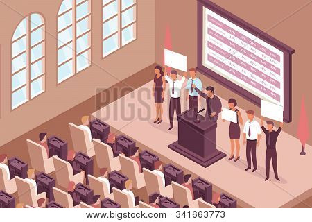 Election Campaign Isometric Composition With Indoor View Of Chamber Hall With Windows Deputy Seats A
