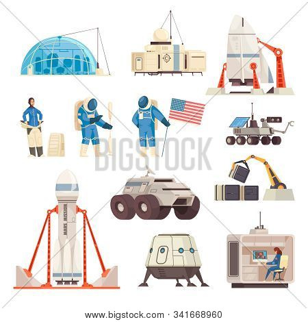 Mars Exploration Colonization Mission Flat Icons Collection With Spacecraft Astronaut In Spacesuit W