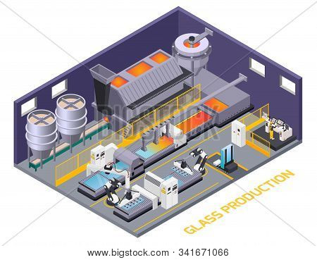 Glass Production Isometric Composition Of Text And Indoor Scenery With Production Line Automated Con