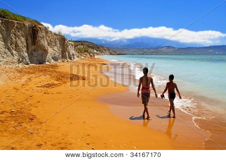 Sandy beach in Greece