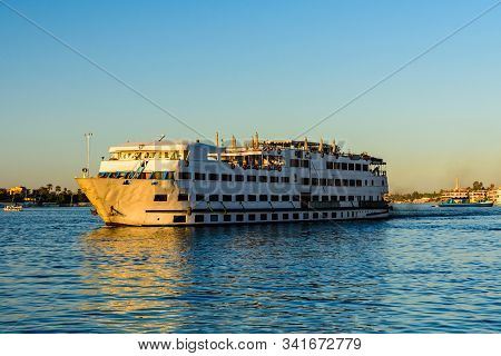 Big Cruise Ship On River Nile In Luxor, Egypt