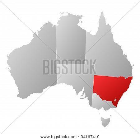 Karta över Australien, New South Wales belyst