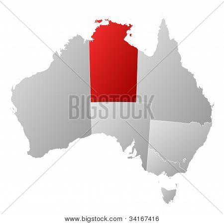 Karta över Australien, norra Treeitory markerade