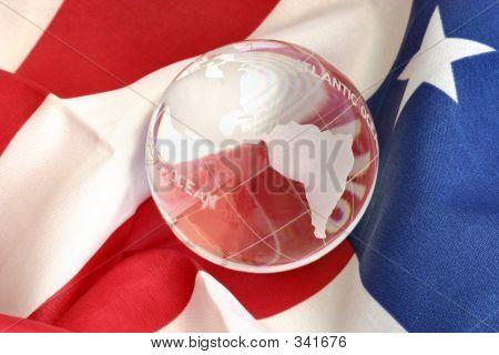 Glass Globe And American Flag