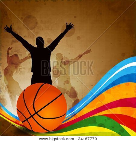 Silhouette of a basketball player and basketball on grungy colorful wave background with happy audience silhouette. EPS 10. poster
