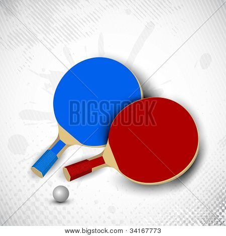 Two table tennis rackets or ping pong rackets and ball on grungy dotted background in grey color. EPS 10. poster