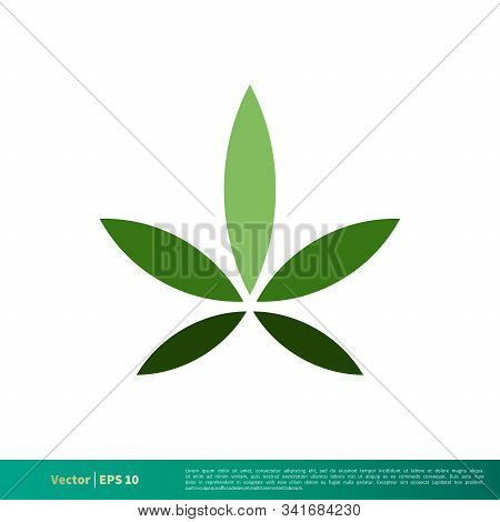 Green Marijuana Hemp Leaf Icon Vector Logo Template Illustration Design. Vector Eps 10.