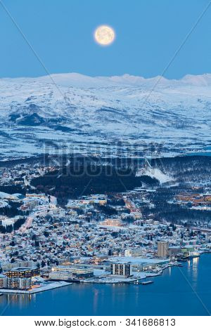 Tromso At Full Moon In Winter Time, Christmas in Tromso, Norway