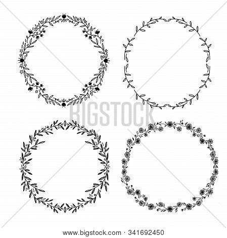 Set Of Hand-draw Vector Victory Laurel And Wedding Flower Wreaths For Stationary. Single Line Dravwi