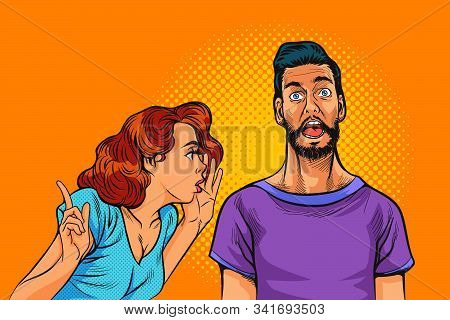 Pop Art Surprised Man Face With Open Mouth. Surprised Pop Comic Of Art Man With Wide Open Eyes And M