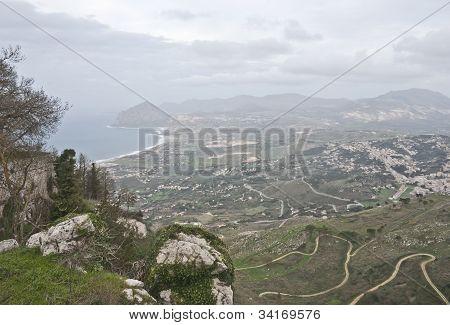 Aerial View Of Erice. Trapani. Mount Cofano