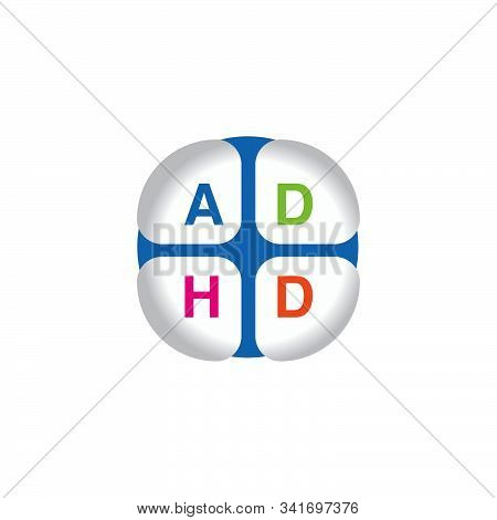 Adhd Attention Deficit Hyperactivity Disorder. Medical Icon Product Label And Logo Graphic Template.
