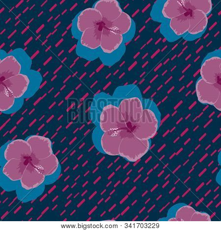 Hibiscus Flowers Tropical Pattern. Exotic Seamless Pattern With Tropical Flowers. Hibiscus Flower. F