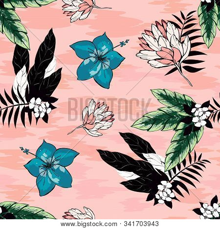 Hibiscus Flowers And Tropical Leaves Vector Seamless Pattern On A Pink Background. Black And White P