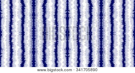 Marine Chevron Vector Seamless Pattern. Azure Abstract Striped Indian Texture. Cobalt Shibori Vintag