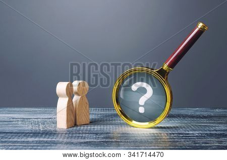 People Look At Magnifying Glass With Question Mark. Search, Analysis, Analytics Study. Pay Attention
