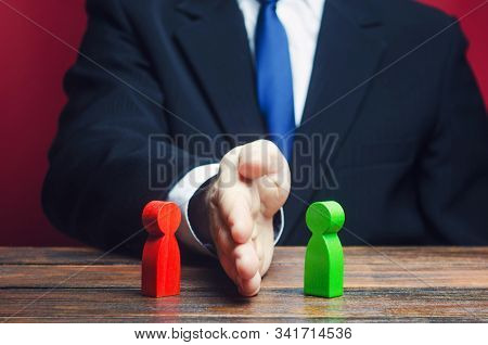 Man Divides Warring Parties Conflict With A Hand. Mediator Services. Stop Fight, Ceasefire Clashes,