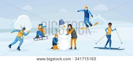 People Having Winter Fun Flat Illustration. Kids Making Snowman Together, Sledding, People Snowboard