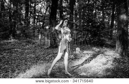Female Spirit Mythology. Fashion Primitive Design. Forest Fairy. Living Wild Life Untouched Nature.
