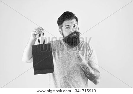 Too Expensive. Mature Male Beard With Fashion Purchase. Sad Hipster Hold Paperbag. Man With Gift Pac
