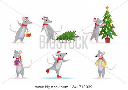 New Year Rats Flat Illustrations Set. Cute Mice Skating, Decorating Fir Tree, With Gift Box Icons, S