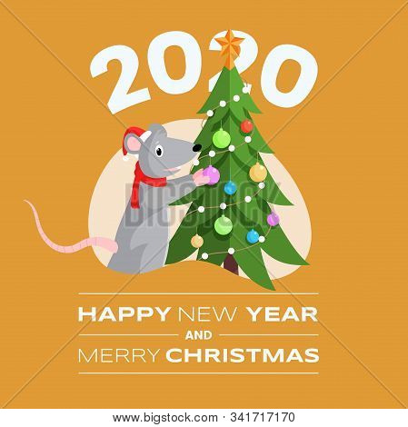 Happy New Year Postcard Vector Template. Funny Mouse Decorating Fir Tree Cartoon Character And Merry