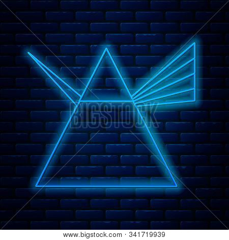Glowing Neon Line Light Rays In Prism Icon Isolated On Brick Wall Background. Ray Rainbow Spectrum D